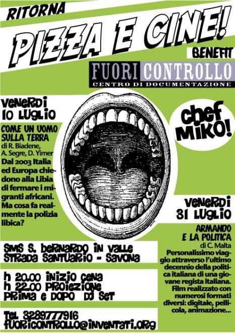 Venerdì 10 Luglio e Venerdì 31 Luglio ritorna Pizza e Cine!!!